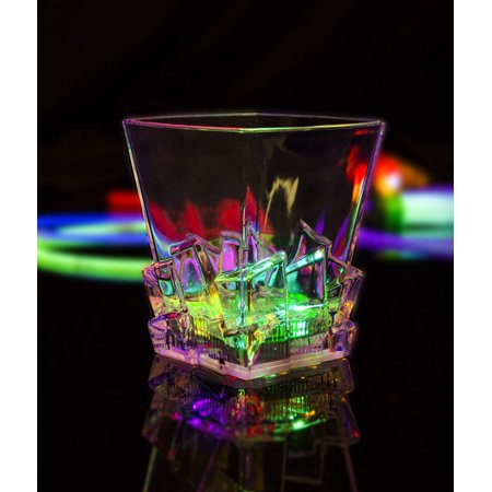 Fun Central (AU259) 10.5 oz LED Light Up Whiskey Ice Cup, Light Up LED Cups & Glasses, Glow Party Supplies/Toys