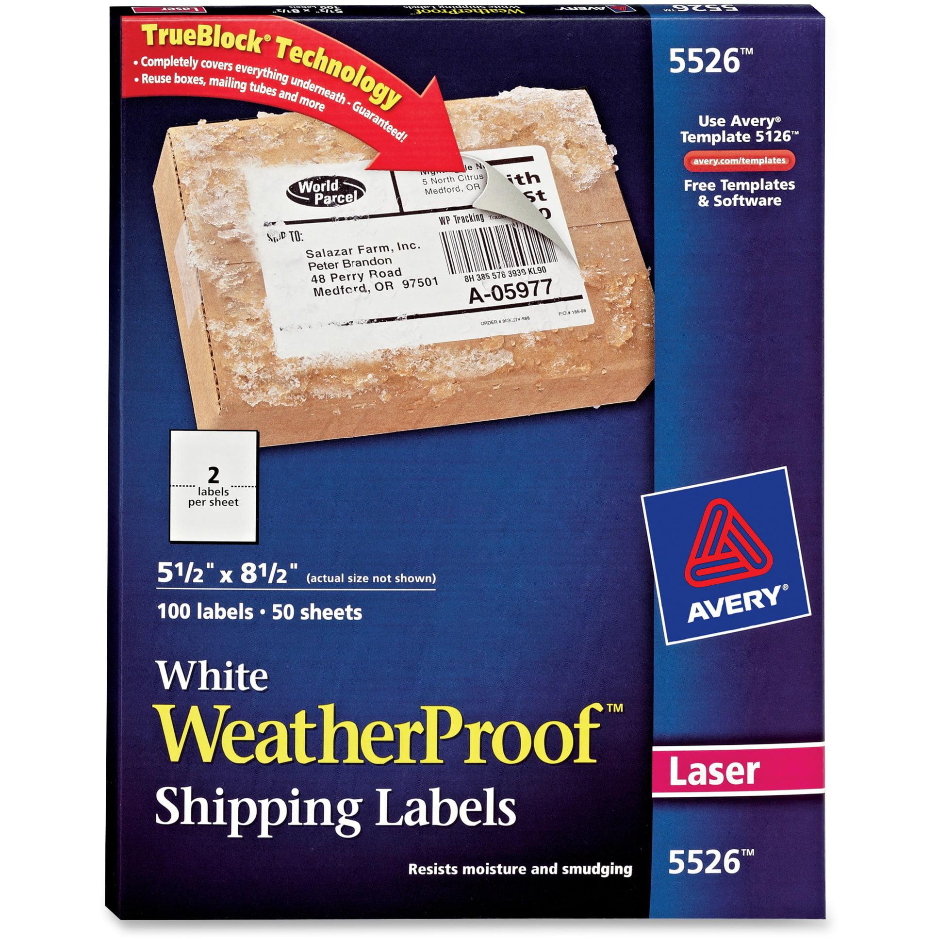 Avery WeatherProof Shipping Labels w/TrueBlock, Laser, White, 5 1/2 x 8 1/2, 100/Pack