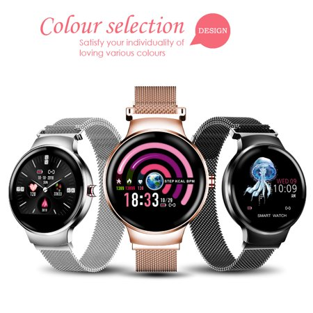 2019 Fashion Women Smart Watch Stainless Steel Bracelet Waterproof h Watch Support Sleep Monitor/ Blood Pressure Monitor/ Multiple Sport Mode/ Predict Menstrual Cycle/ (Best Watches Under 10000 2019)