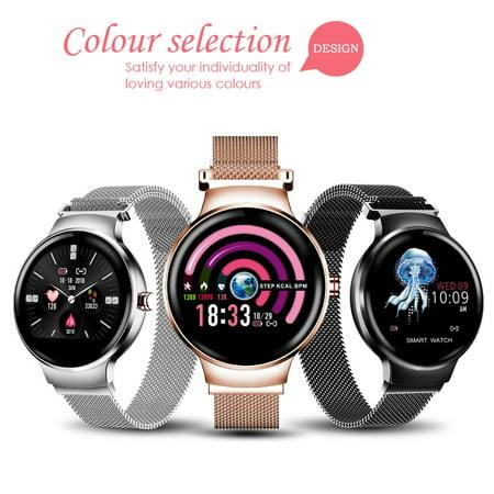 2019 Fashion Women Smart Watch Stainless Steel Bracelet Waterproof h Watch Support Sleep Monitor/ Blood Pressure Monitor/ Multiple Sport Mode/ Predict Menstrual Cycle/