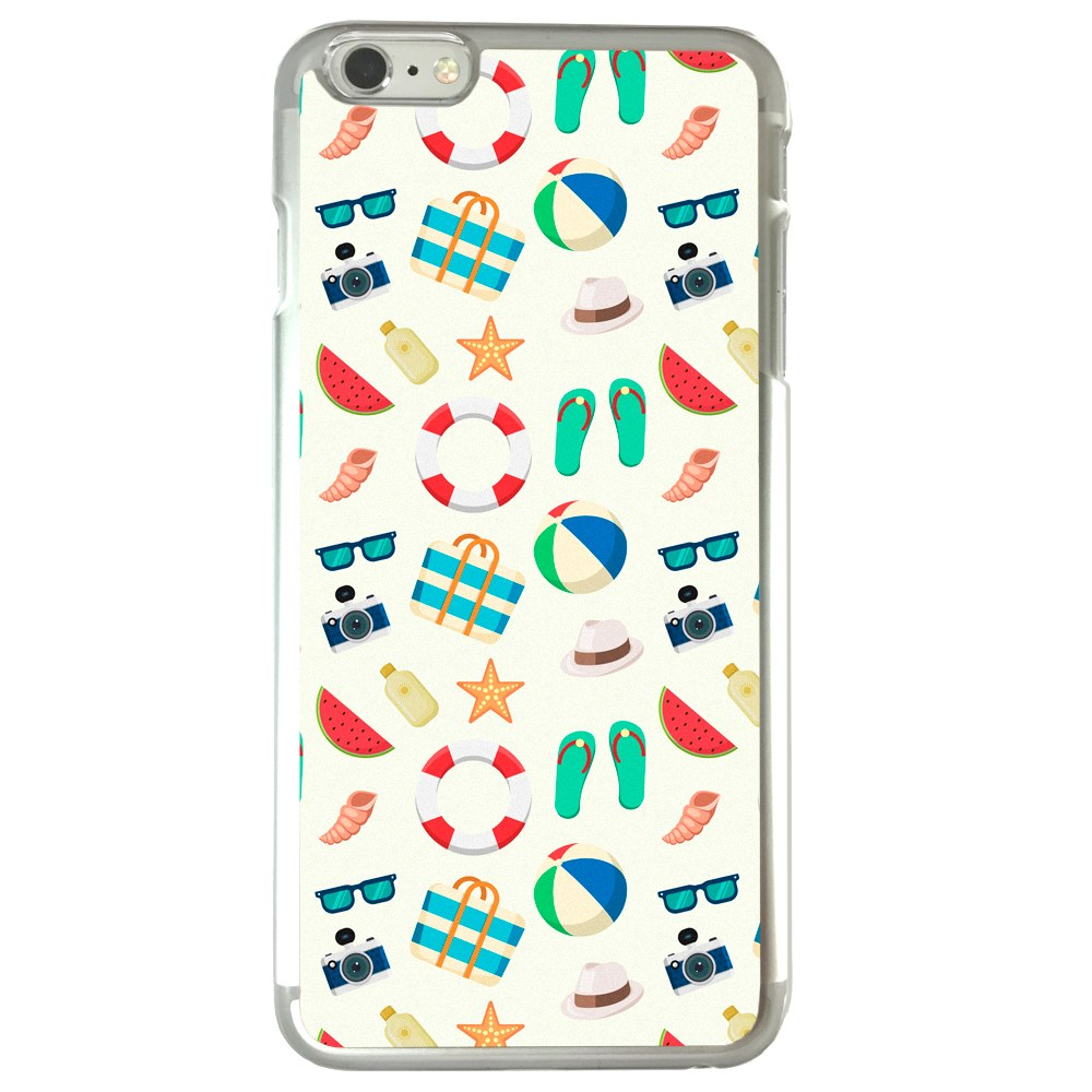 Image Of Fun Beach and Nautical Element Pattern on White Apple iPhone 6 Plus / 6S Plus Clear Phone Case