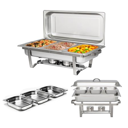 Oval Stainless Steel Chafer (UBesGoo 8Qt Stainless Steel Chafing Dish Complete Full Size Chafer Buffet Dish, for Catering Buffet Warmer Tray Kitchen Party Dining)