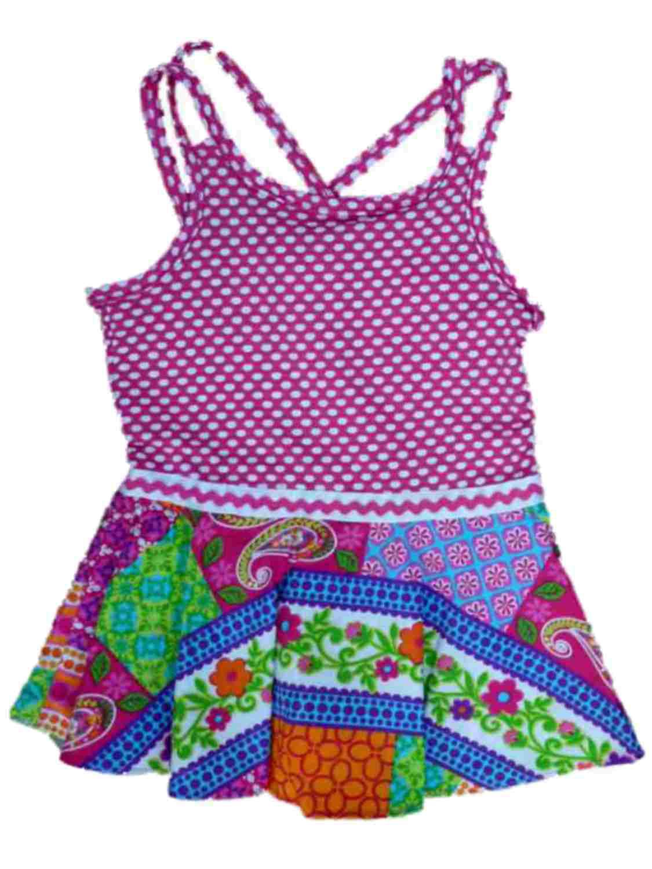 Youngland Infant & Toddler Girls Pink & White Polka Dot &Paisley Sun Dress