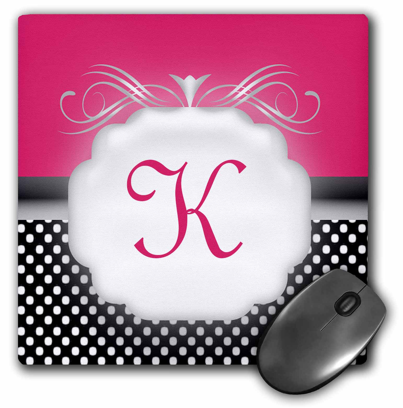 3dRose Elegant Pink with Black and White Polka Dot Monogram Letter K, Mouse Pad, 8 by 8 inches
