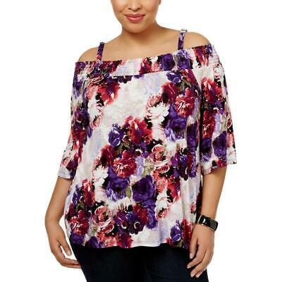 I.N.C International Concepts Women's Plus Size 0X White Trim Cold-Shoulder Top