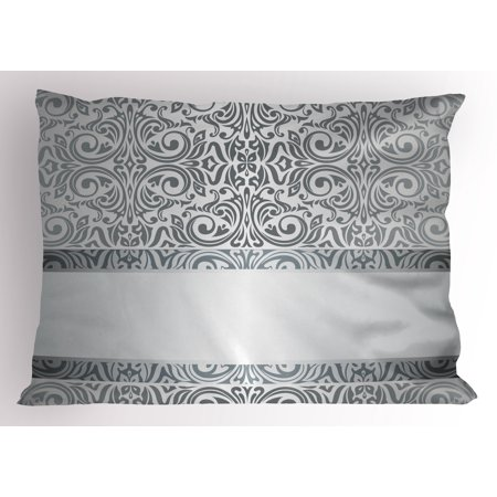 Silver Pillow Sham Baroque Damask Curves Rococo Style Motifs Floral Renaissance Revival Design, Decorative Standard Queen Size Printed Pillowcase, 30 X 20 Inches, Grey Pale Grey, by Ambesonne