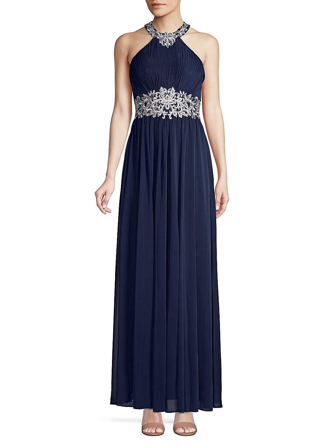 Embroidered Halterneck Column Gown