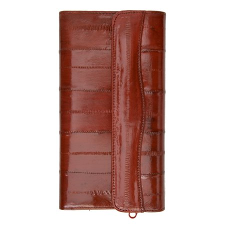 Brown Deluxe Board - Womens Eel Skin Leather Deluxe Checkbook Wallet E 2575