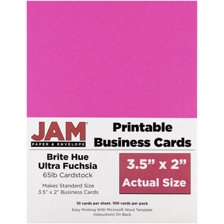 - JAM Paper Printable Business Cards - 3 1/2 x 2 - Brite Hue Ultra Fuchsia - 100/pack