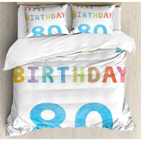 Ambesonne 80th Birthday Decorations Old Ancient Abstract Vintage Happy Party Theme Artwork Duvet Cover Set