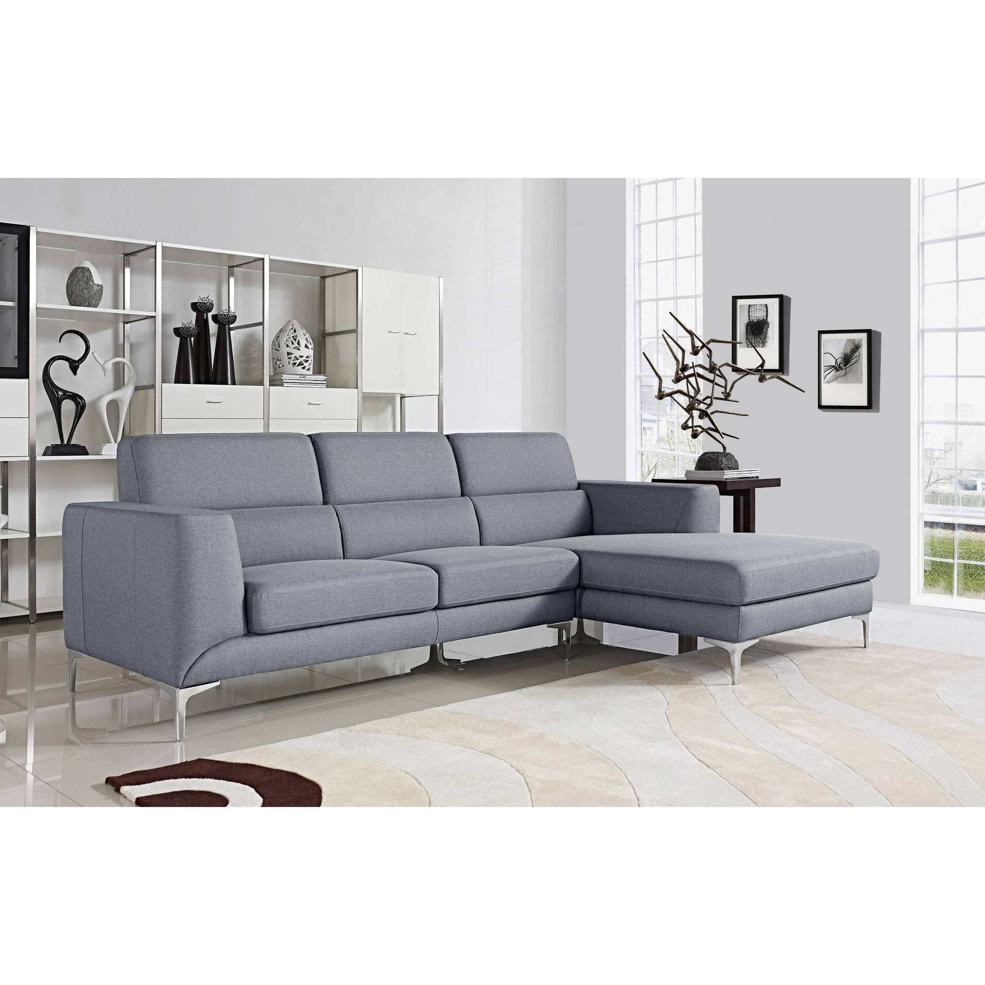 Xena Modern Fabric Upholstered Right Facing 2-Piece Sectional Sofa, Grey
