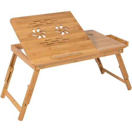 Buy 100% Bamboo Adjustable Laptop Table Computer Desk Tilting Top W/ Drawer Bed Tray Before Special Offer Ends