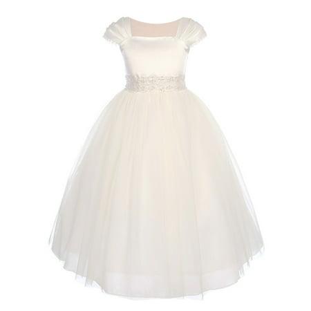 Kids Dream Girls Ivory Satin Mesh Lace Beadwork Communion Dress - Satin Dress For Kids