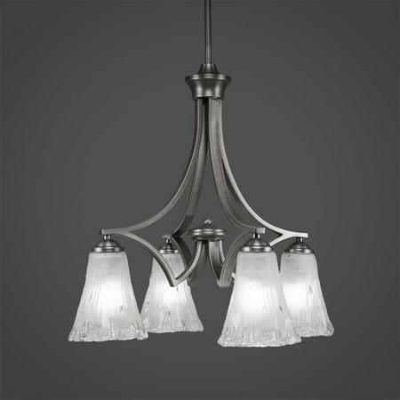 Toltec Lighting-568-GP-721-Zilo - Four Light Chandelier  Graphite (Chandelier Toltec Lighting)