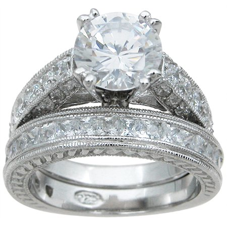 Iceposh 925 Sterling Silver Princess Wedding Rings For Women