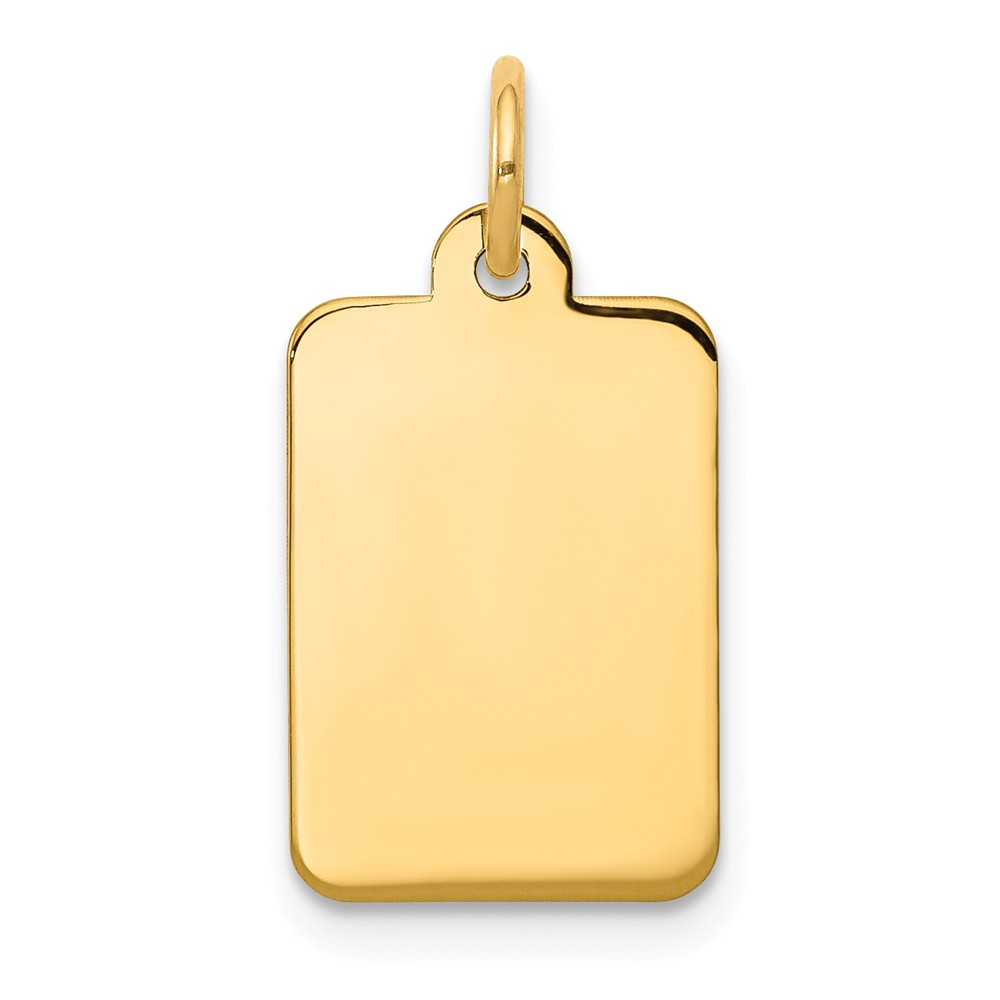 14k Yellow Gold Plain 0.011 Gauge Rectangular Engravable Disc Charm (0.8in long x 0.4in wide)