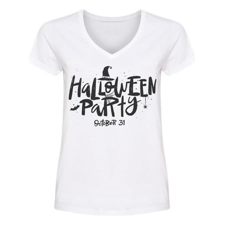 Halloween Party Lettering  V Neck Women's -Image by Shutterstock
