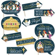 Funny Holy Nativity - Manger Scene Religious Christmas Photo Booth Props Kit - 10 Piece