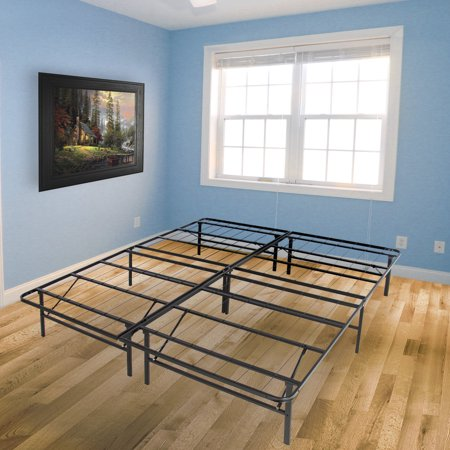 platform metal bed frame foldable no box spring needed mattress foundation queen - Metal Bed Frames