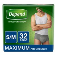 Depend FIT-FLEX Incontinence Underwear for Men, Maximum Absorbency, S/M, Gray (Choose your count)
