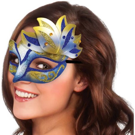 Blue And Gold Carnival Mask Halloween Costume Accessory
