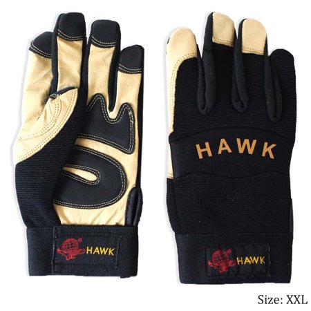 Men's Top Grain Pig Leather and Black Spandex Sporty-Style Gloves