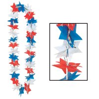 """Pack of 12 Red, White and Blue 4th of July Patriotic Star Party Lei Necklaces 36"""""""