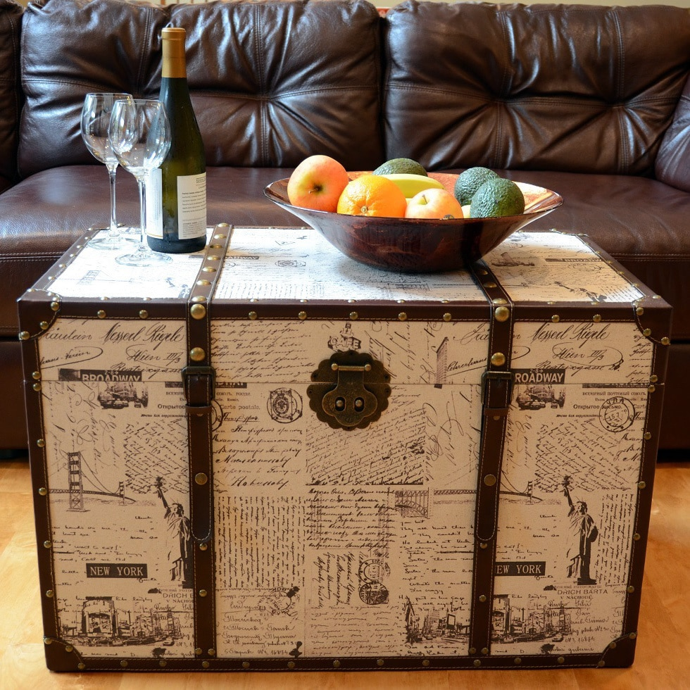 Styled Shopping Inc Decorative New York Large Wooden Treasure Hope Chest