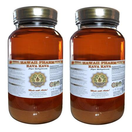 Kava Kava (Piper Methysticum) Tincture, Dried Root Liquid Extract, Ka Wa Hu  Jiao, Herbal Supplement 2x32 oz Unfiltered