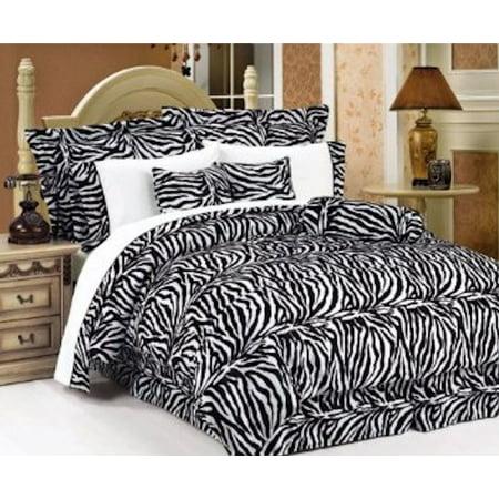 White Zebra Print Faux Fur Twin Size