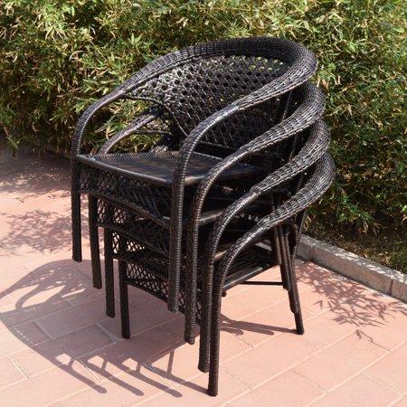Adeco Brown Wicker 5-piece Dinning set - Dinning Chair