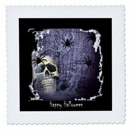 3dRose Web Spider and Skull Halloween Skull Design - Quilt Square, 10 by 10-inch (Halloween Skulls Designs)