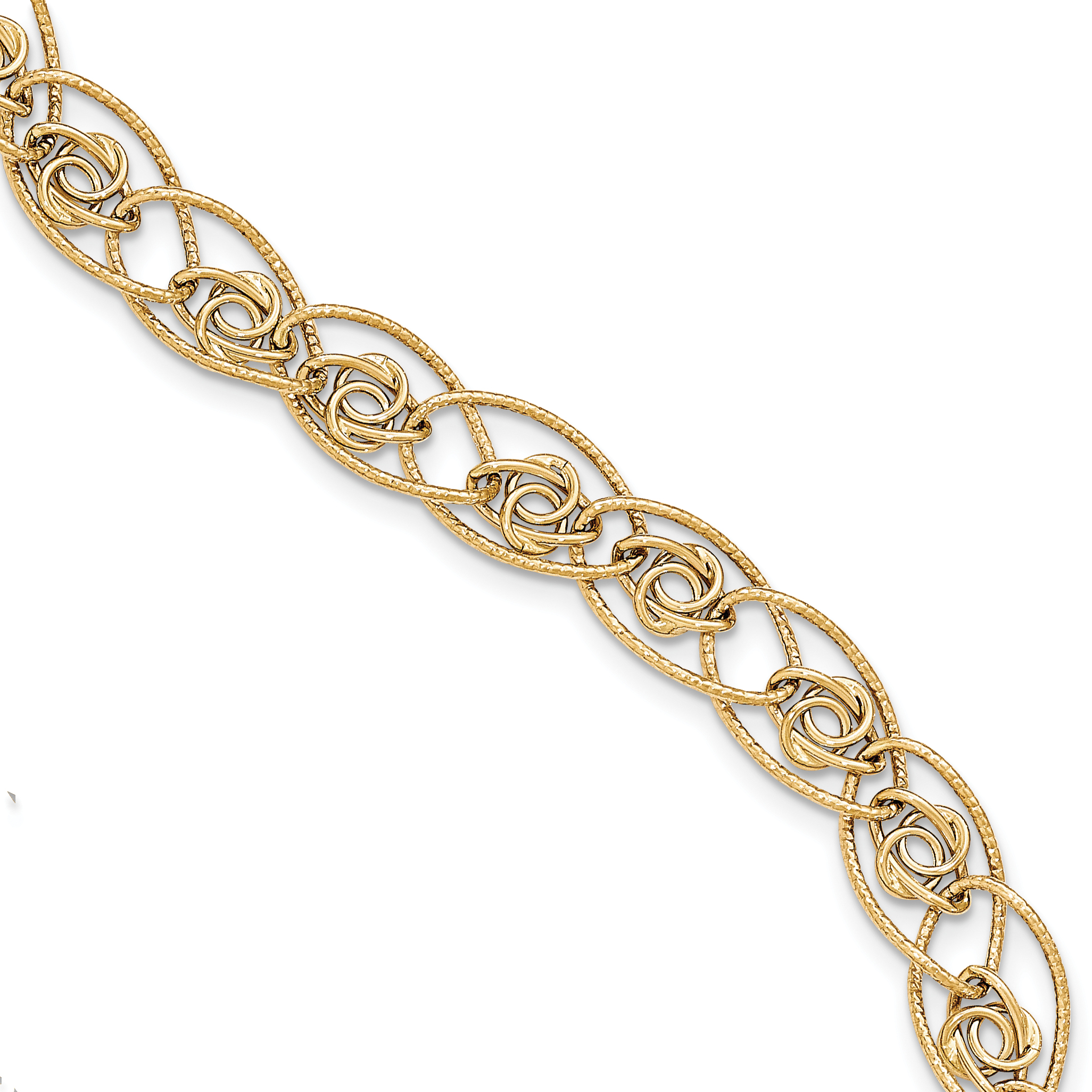 14k Yellow Gold Textured and Polished Fancy Bracelet by