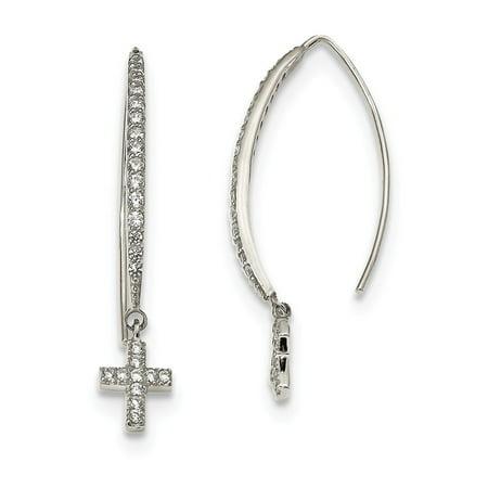 (Lex & Lu Sterling Silver CZ Cross Threader Earrings)