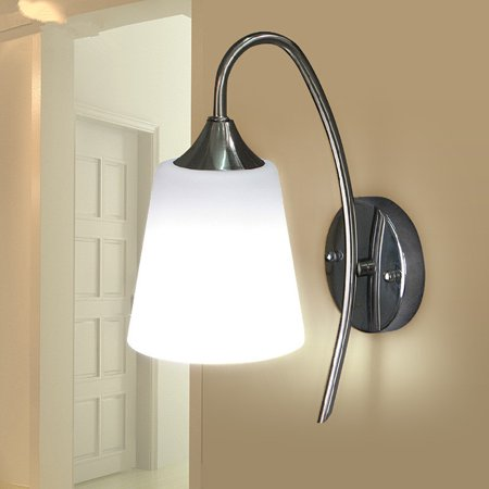Indoor Wall Light Fixture Modern Bedroom Bedside Lamp Glass Material Shade  White