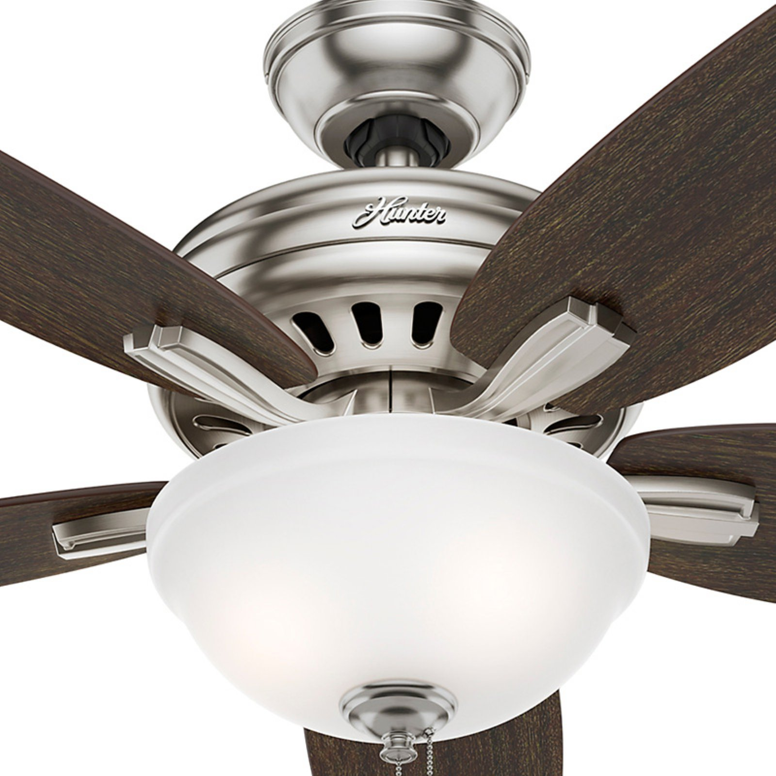 """Hunter Fans 56"""" Newsome Bowl Light Brushed Nickel Ceiling Fan with"""