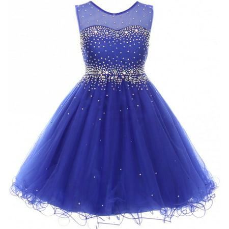 Big Girls' Sparkling Rhinestone Illusion Tulle Junior Bridesmaid Pageant Flower Girl Dress Royal 12 (C50C29C) - Roman Dresses