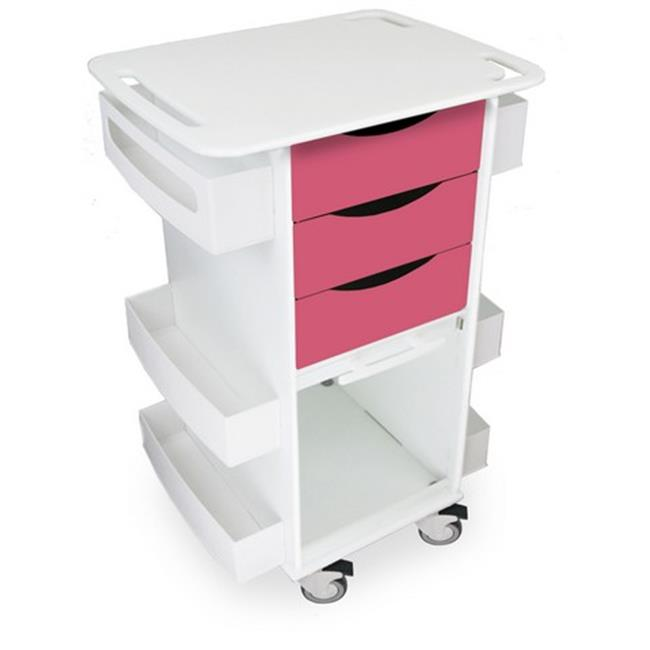 TrippNT 51368 Watermelon Pink Polyethylene Core DX Multi Tasking Storage Cart with Clear Door - 23 x 35 x 19 in.