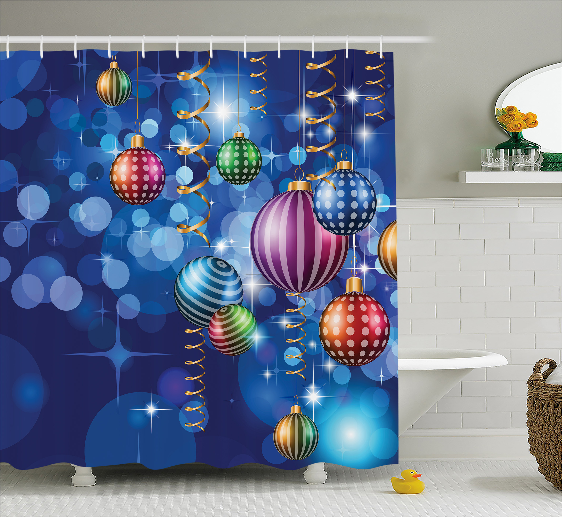 Christmas Shower Curtain Set Happy New Year Themed Party