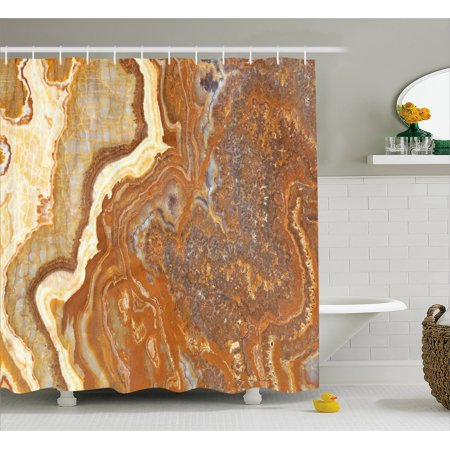 Marble Shower Curtain, Unique Earthen Toned Mother Earth Elegance Natural Travertine Display, Fabric Bathroom Set with Hooks, 69W X 70L Inches, Cinnamon Earth Yellow, by Ambesonne - Mom Shower
