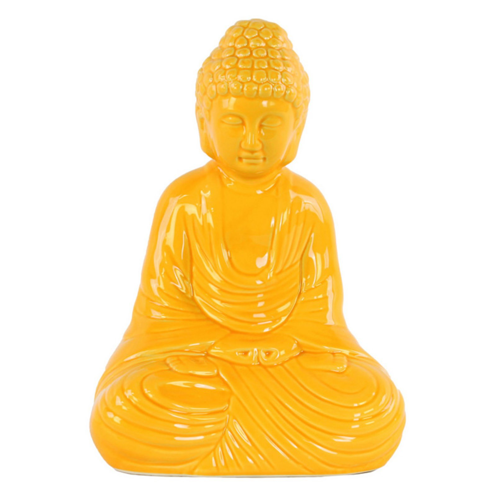Urban Trends Collection: Ceramic Buddha Figurine, Gloss Finish, White