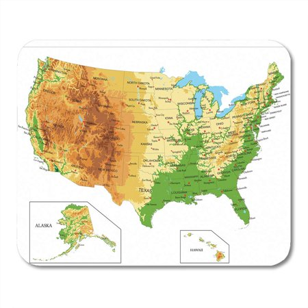 KDAGR California United States of America Physical Map Nevada Relief Idaho Mousepad Mouse Pad Mouse Mat 9x10 inch (Idaho Relief Map)