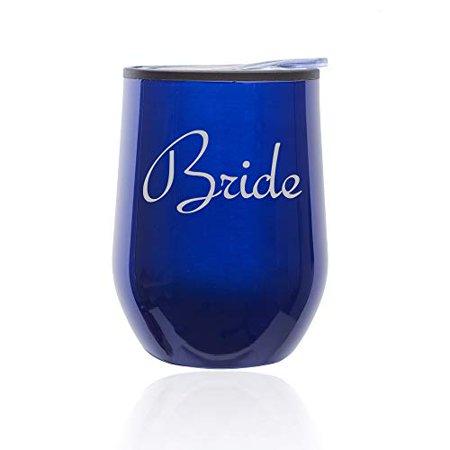 Stemless Wine Tumbler Coffee Travel Mug Glass with Lid Bride Bachelorette Wedding (Blue) - Bachelorette Tumblers