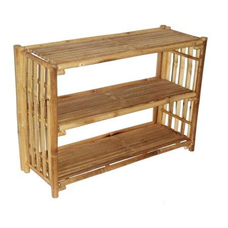 Bamboo54 Patio Buffet Table with Shelf (High 3 Shelf Table)
