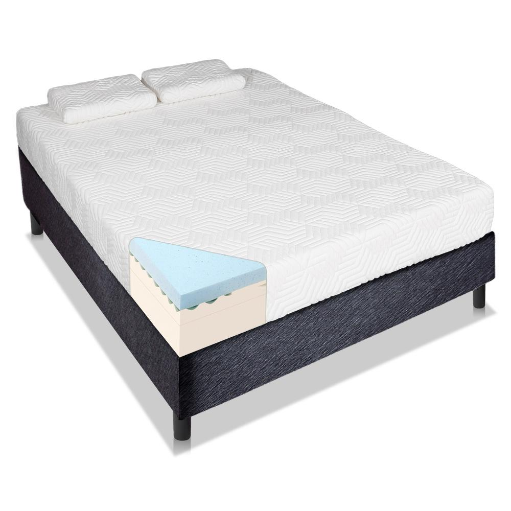 """Ktaxon Three layers 8"""" Cool Firm Memory Foam Mattress Bed with 2 Pillows Queen Size"""