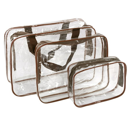 3Pcs Clear Travel Toiletry Cosmetic Makeup Bags Organizer Set Case Pouch Purse Brush Holder