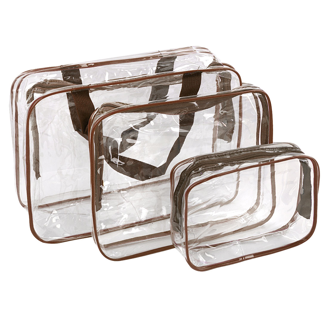 3Pc Clear Travel Toiletry Cosmetic Makeup Bags Organizer Set Case Pouch Purse Brush Holder