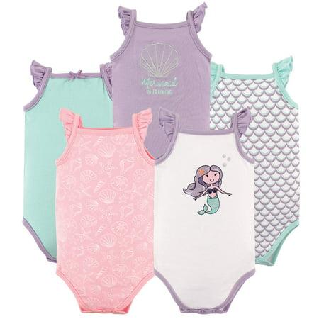 Newborn Baby Girls' Sleeveless Bodysuits 5-Pack (Newborn 5 Piece Set)