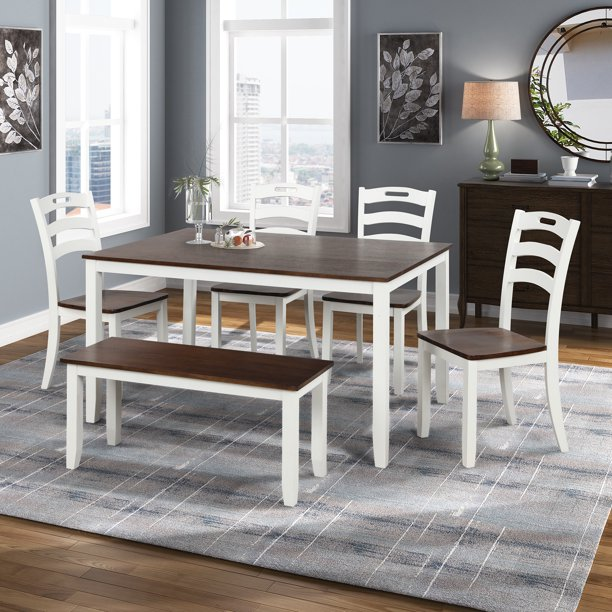 Dining Table Sets for 6 Persons, 6 Piece Veneer Acacia Frames