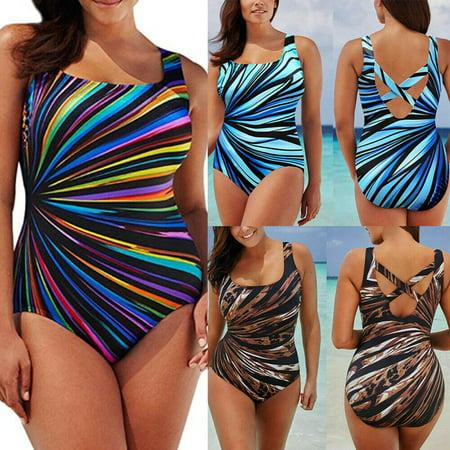 Sexy Women Plus Size Swimwear Bikini Set High Waist Bathing Suit Swimsuit (Sexy Blue Bikini)